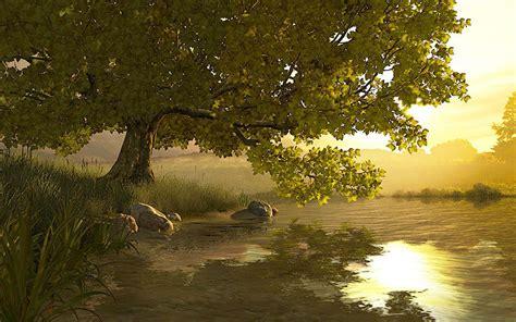 lake tree  screensaver  animated  screensaver