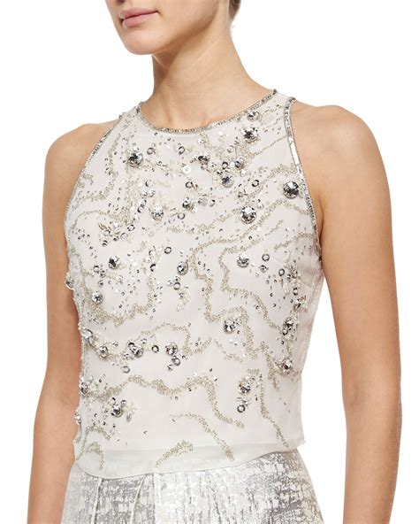 beaded tops phoebe sleeveless beaded crop top in white white silver