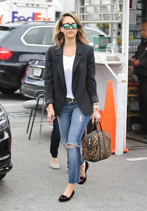 celebrity women wearing loafers jessica alba wearing black blazer white crew neck t shirt