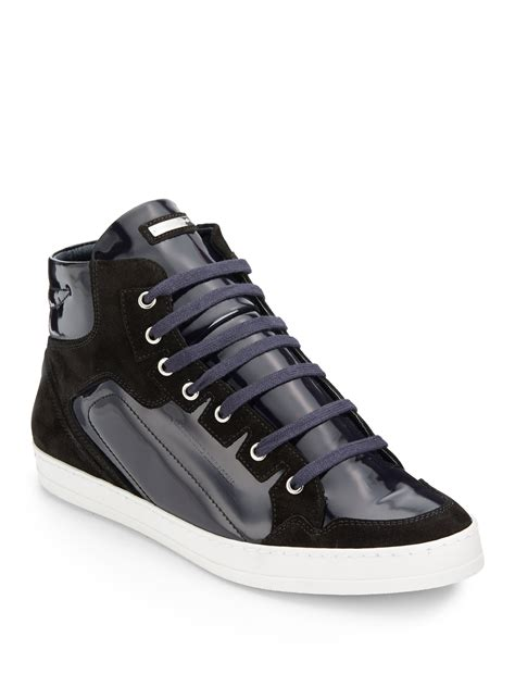 mens black patent leather sneakers alessandro dell acqua suedetrimmed hightop patent leather
