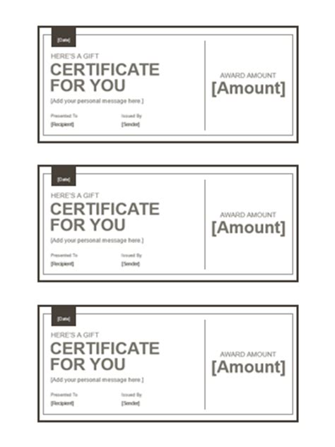 gift certificates templates office com