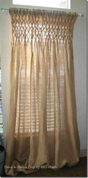 Smocked Burlap Curtains Smocked Burlap Jute Curtain Panel