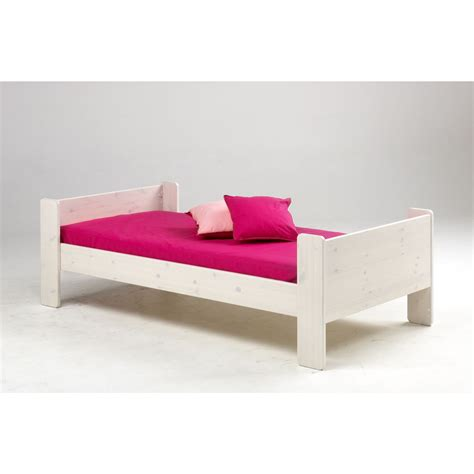 White Stained Wooden Kids Single Bed Frame With Pink Childrens Single Bed Frame