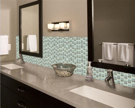 glass mosaic tile backsplash bathroom mirror wall