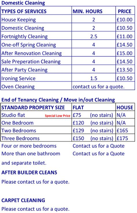 prices icleanu  professional cleaning services
