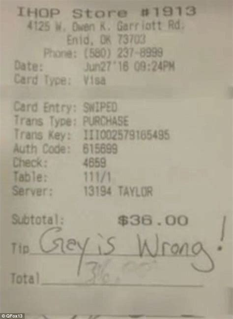 Tip Check For Messages by Ihop Waitress Left Hateful Note Instead Of A Tip On A 36