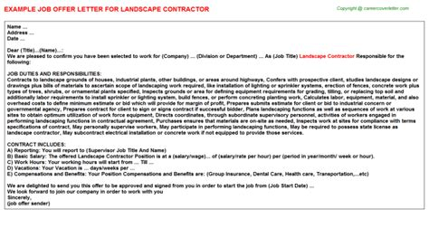 Landscape Contractor Cover Letter by Landscape Contractor Offer Letters