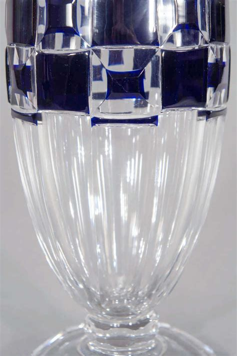 Clear Vases For Sale Val Lambert Deco Vase Cobalt Cut To Clear For