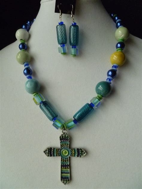 chunky beaded necklaces large cross chunky beaded necklace and earring set in blue and