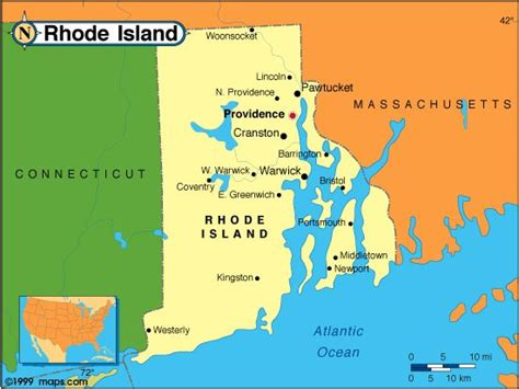 rhode island on map rhode island the state map new maps