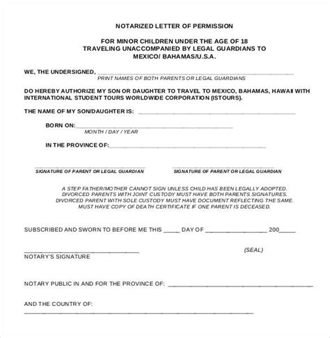 Consent Letter Notary how to notarize a letter of consent docoments ojazlink