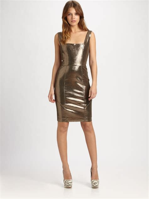 Metallic Dresses by Norah Metallic Leather Dress In Gold