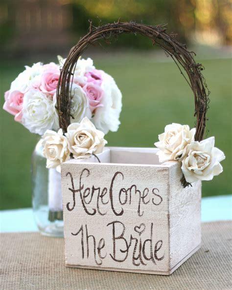 Shabby Chic Flower Girl Basket Rustic Wedding Decor Here Comes
