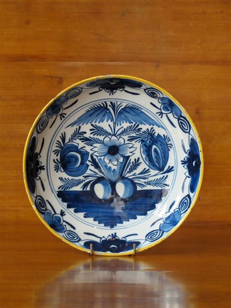 century delft blue  white plate ceramics