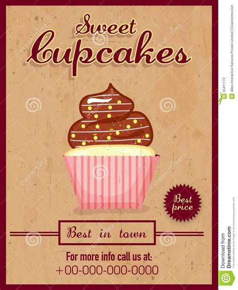 Menu Card, Flyer Or Brochure For Cupcakes. Stock Illustration   Image: 55411172