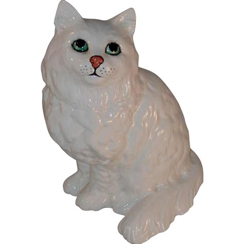 Cat Figurine by Vintage Glazed Porcelain Large Cat Figurine Marked Beswick