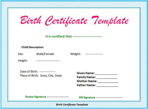 birth certificate templates for word birth certificate templates free word pdf psd format