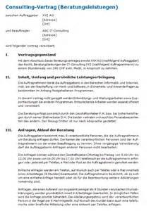 Muster Dienstleistungsvertrag Schweiz Consulting Vertrag Muster Zum