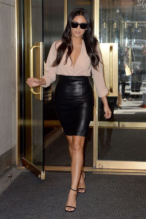 lovely in leather shay mitchell in a leather