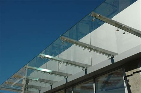 Glass Awning System by Glass Canopy With Ribbed Steel Spider Fittings From Austvision