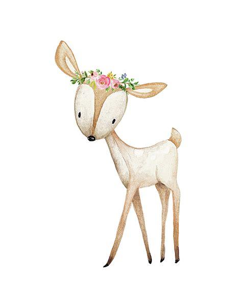 Animal Print Home Decor by Boho Woodland Baby Nursery Deer Floral Watercolor Digital