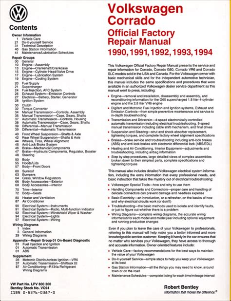 online car repair manuals free 1994 volkswagen corrado user handbook back cover vw volkswagen repair manual corrado 1990 1994 bentley publishers repair
