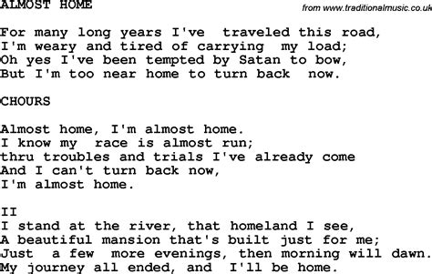 country southern and bluegrass gospel song almost home lyrics