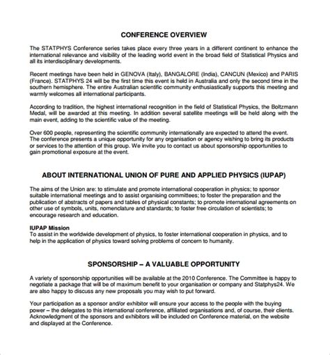 19 Sle Sponsorship Proposal Templates Sle Templates Conference Sponsorship Template