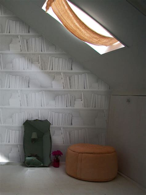 carta da parati in stile vintage white bookshelf by mineheart