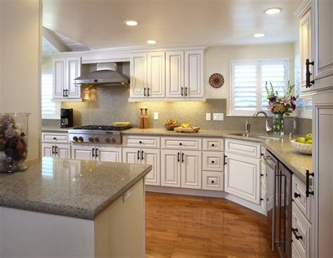 shaped french country kitchen white color scheme