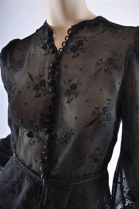 Ema Blouse 3 Ruby vintage 40s embroidered chiffon peplum blouse s from mairemcleod on ruby 40 tal