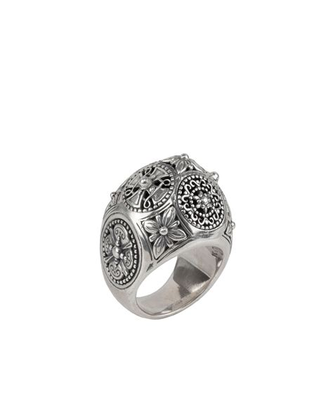 etched sterling silver dome ring
