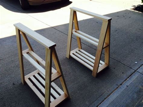 diy table with sawhorse legs diy sawhorse table legs unfinished my projects woods and desks