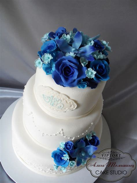 blue wedding cakes with flowers wedding cake with blue flowers cakecentral
