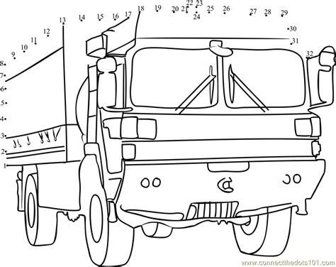 printable dot to dot truck military truck dot to dot printable worksheet connect