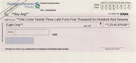 Standard Chartered Credit Letter Cheque Writing Printing Software For India Banks भ रत य ब क क ल ए न श ल क च क ल खन
