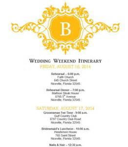 wedding itinerary template mustard yellow wedding itinerary template