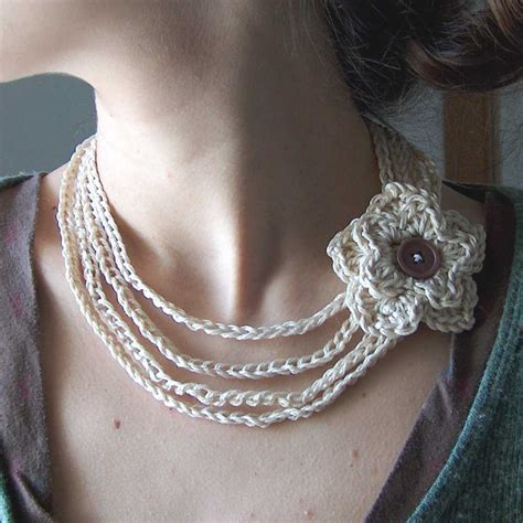 how to make crochet jewelry with cotton crochet flower necklace