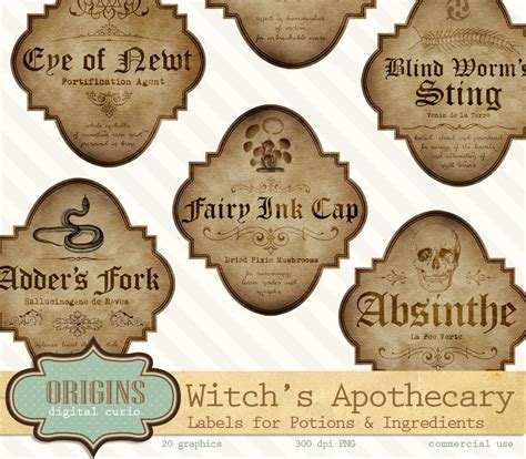 printable ingredient tags witch apothecary labels magick potion ingredient labels