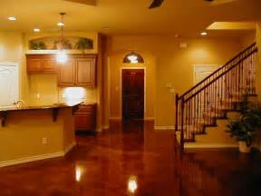 cool modern look acid stained concrete basement floors