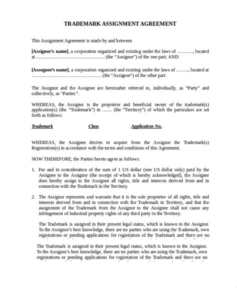 patent assignment agreement template sle assignment agreement template 9 free documents