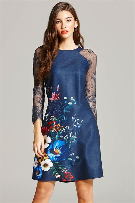 Print Sleeve Dress navy floral print and lace sleeve dress