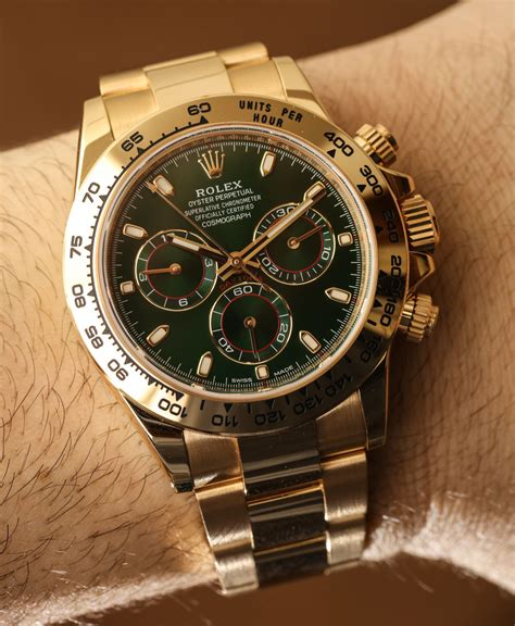 golden rolex rolex cosmograph daytona 116508 green dial 18k yellow gold