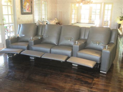 Power Reclining Custom 4 Seat Sofa Valley Leather 4 Seat Reclining Sofa