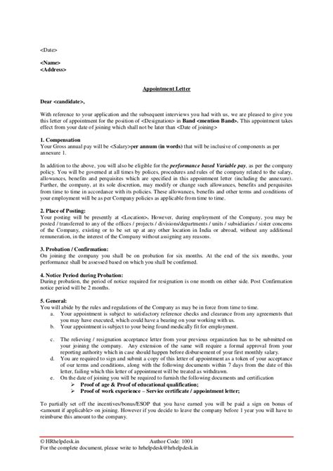 appointment letter for class appointment letter notice period 28 images appointment