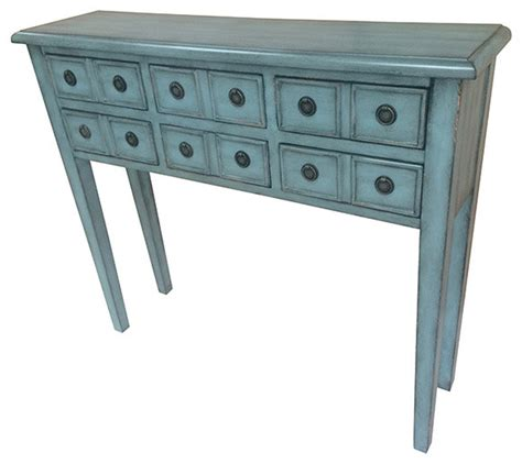 Teal Console Table Florence 6 Drawer Teal Console Traditional Console Tables By Fratantoni Lifestyles