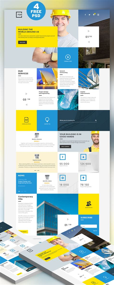 business website templates psd free construction business website free psd template psd