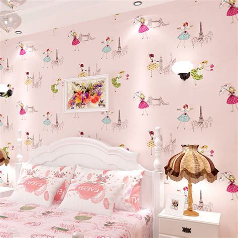 kids room wallpapers 3d texture printed paris tower girls ballet cartoon wall