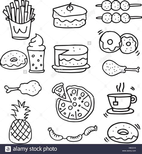 doodle food eps doodle of food breakfast lunch or dinner vector stock