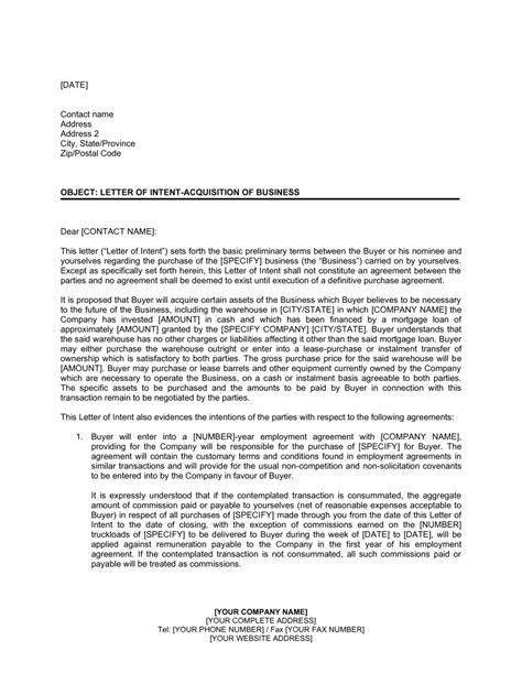 letter intent acquisition business template